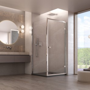 Cabine de douche avec porte battante...
