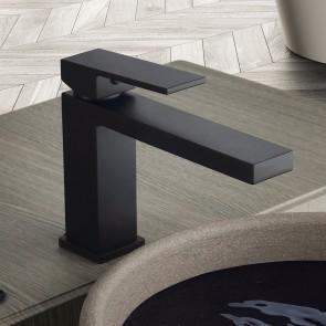 Mitigeur lavabo noir mat avec bec...