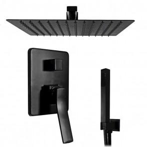 Set doccia incasso nero con soffione quadrato 30x30 | Manara-1
