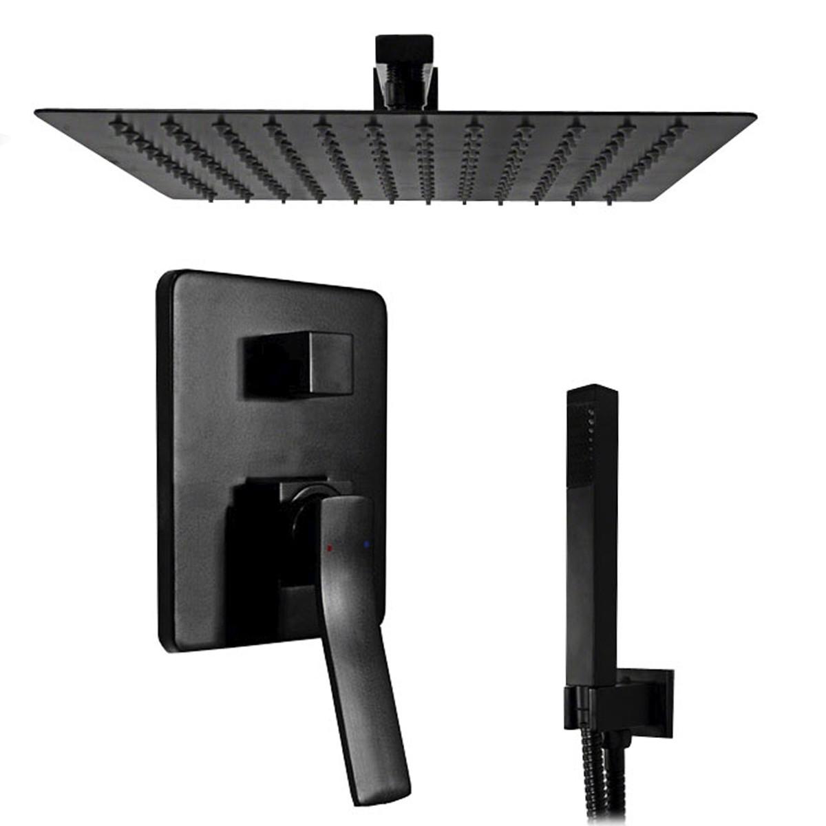 Set doccia incasso nero con soffione
