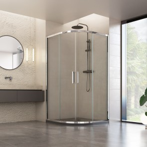Cabine de douche semi-circulaire avec...