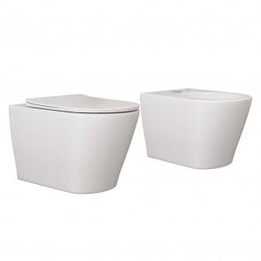 Couple WC suspendu WC BIDET Céramique...