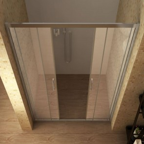 Porte de douche avec entrée centrale...