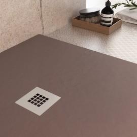 Receveur de douche en marbre brun résine