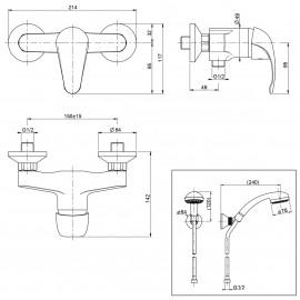 Gruppo doccia esterno con duplex cromato