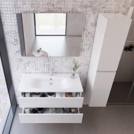 Mobile sospeso bianco larice con lavabo