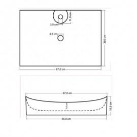 Lavandino rettangolare da appoggio 66x40