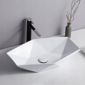 Vasque blanche à poser hexagonale...