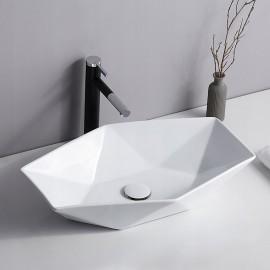 Lavabo bianco esagonale da appoggio