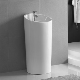 Lavandino da pavimento cilindrico bianco