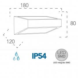 Applique da parete per esterno 6w a led