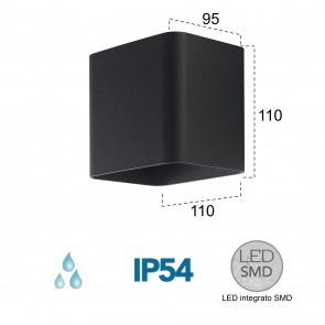 Applique LED noire A 4000kelvin 7 watts