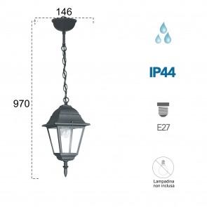 Lanterne suspendue noire étanche ROMA