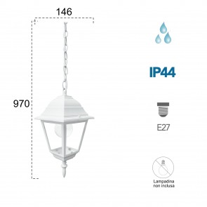 Lanterne suspendue étanche blanche ROMA