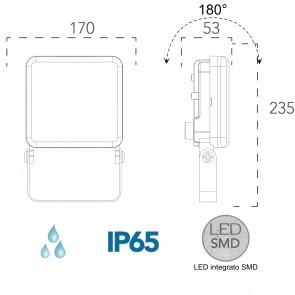 Projecteur extérieur Naxos 50W LED...