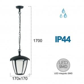 Lanterne LED noire suspendue