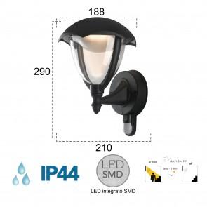 Lanterne LED noire 4000 kelvin 12 watts