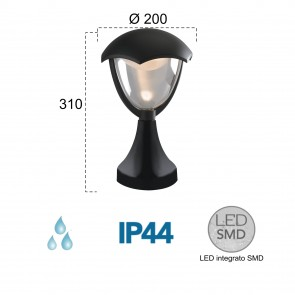 Lampadaire LED noir 4000kelvin 12 watts