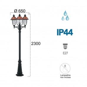 Palo luce per esterno 3x60W nero e...