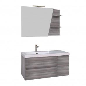 Mobile bagno sospeso 100cm grigio specchio con mensole MOOD-100