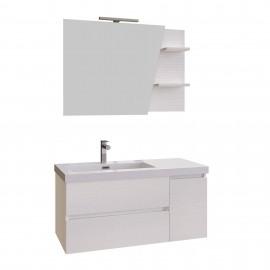 Mobile bagno sospeso bianco 100 specchio