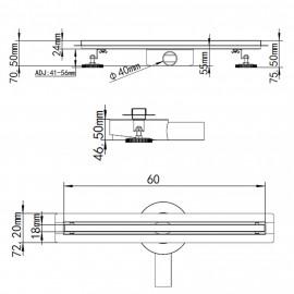 Canalina di scarico a pavimento 60 80 cm