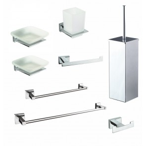 Set accessori da bagno cromati in...