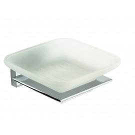 Set accessori da bagno cromati in vetro