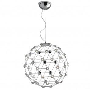 Lampada a sospensione 60W a led cromo DAVIS. Struttura sferica dallo stile moderno e minimalista.
