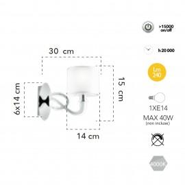 Applique da parete 4W a Led cromo. Struttura moderna in acciaio e acrilico a doppia sorgente di luce.