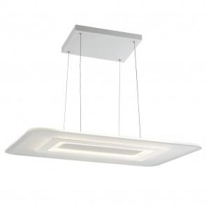 Lampada a sospensione 65W a led bianca Stevens. Punto luce moderno con struttura in metallo e vetro.