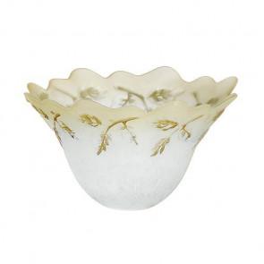 Abat-jour en verre à décor floral ambré F30