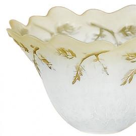 Abat-jour en verre blanc avec bord dégradé ambre et décorations de feuilles FanEurope