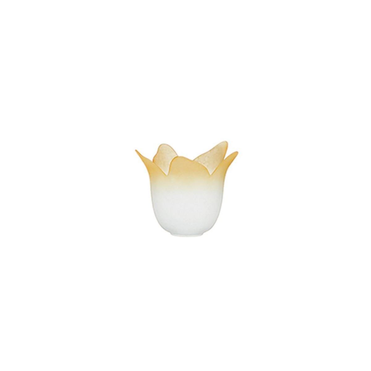 90191303201129 - Paralume Floreale Vetro Bianco Bordo Ambra F30