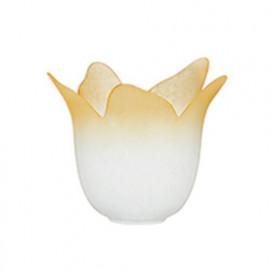 90191303201129 - Abat-jour Floral Verre Blanc Bord Ambre F30
