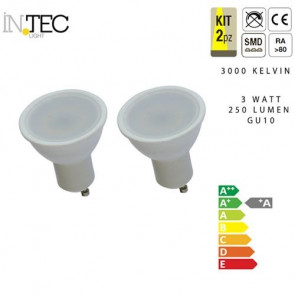Kit I-Lumya-Gu10-3Wc - Kit Ampoule Led 2Pz Gu10 3W 3000K 250Lm