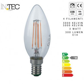 Ampoule LED quatre filaments 3 watts 3000 5000 E14