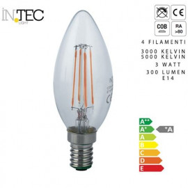 Ampoule LED à quatre filaments 3 watts 3000 5000 E14