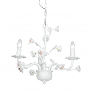 I-CUPIDO/3 - Lampadario Metallo Bianco Rose Ceramica Sospensione Classica E14