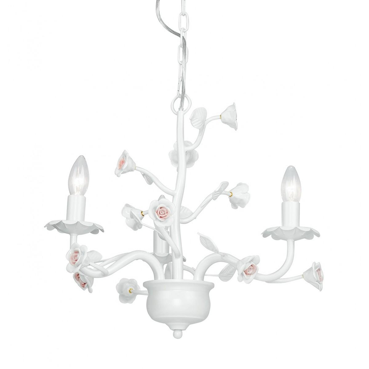 I-CUPIDO / 3 - Lustre en métal blanc Rose Classic Ceramic Suspension E14