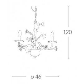 I-Cupido/3 - Lampadario A Sospensione Con Decoro A Rosa 40 Watt E14