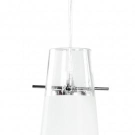 Pendentif réglable en hauteur avec diffuseur conique en verre à rayures blanches Décoration Caribbean FanEurope Line