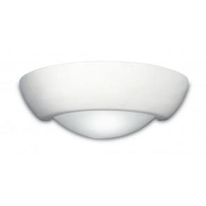 166/00100 - Applique Ceramica Lampada Verniciabile diffusore Vetro Doppia Emissione di Luce E27