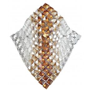 I-Rumba/Ap - Applique Dalla Forma Morbida Decorata Con Cristalli Trasparenti E Ambrati Incastonati 42 Watt G9