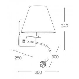 Applique Helly en aluminium avec abat-jour en tissu blanc et lampe de lecture réglable FanEurope
