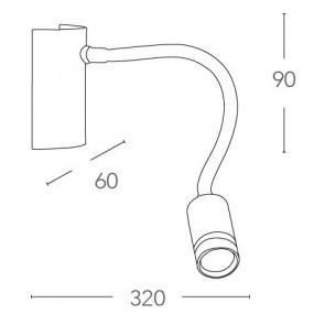 Lampe de mur de lecture flexible en...