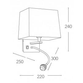 Applique Helly avec abat-jour carré en tissu blanc et lampe de lecture FanEurope