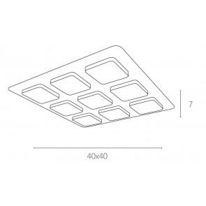 Plafonnier carré moderne en métal...