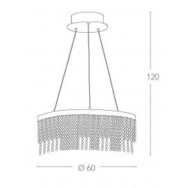 Lampadario Venus Circolare 60 cm in Metallo con Pendenti Cristalli FanEurope