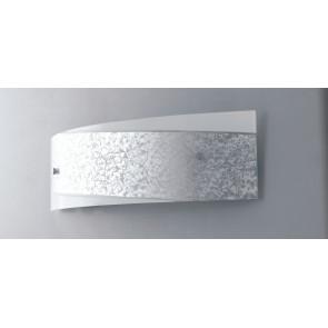 I-PARIS / 4512 SIL - Applique rectangulaire Bande argentée Lampe moderne en verre blanc Intérieur E27